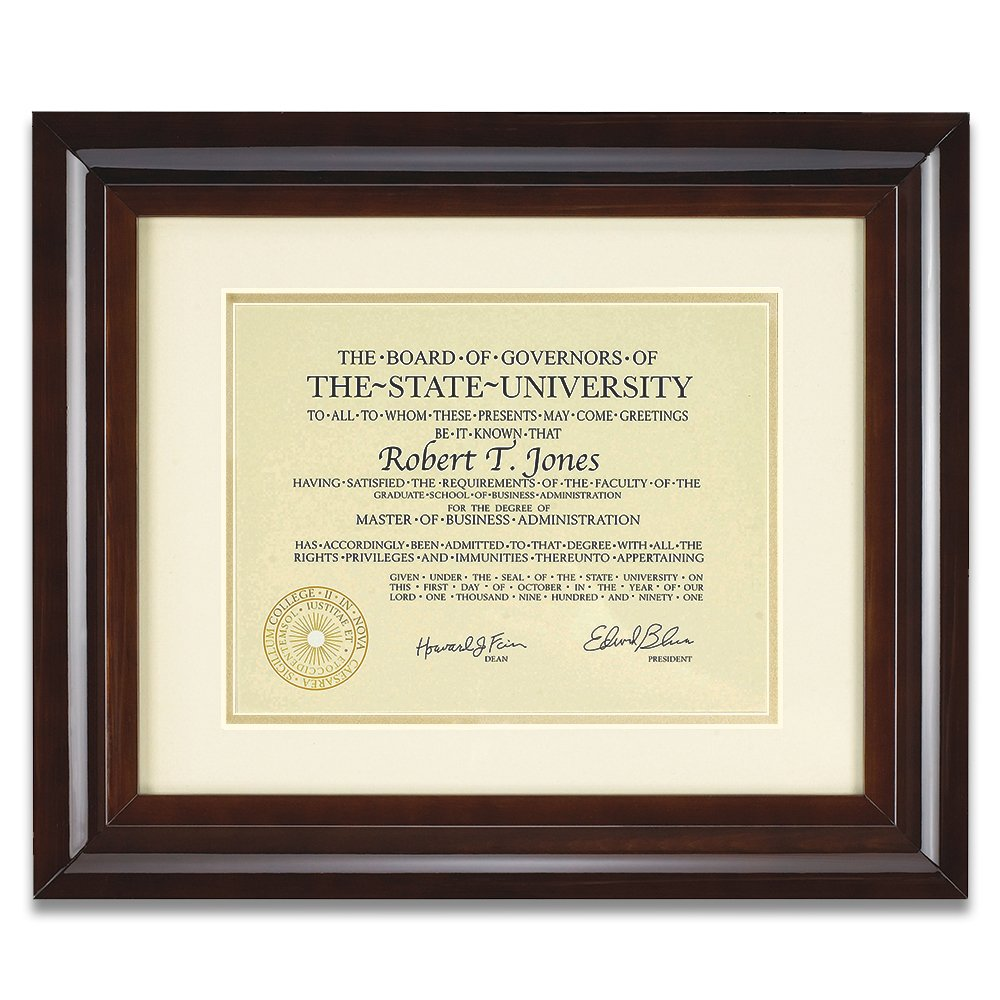 12x15 Hampton Collection Walnut Glazed Archival Document Frame With Warm White Mat For 8.5x11 Document Includes: UV Glazed Glass and Anti Aging Liner