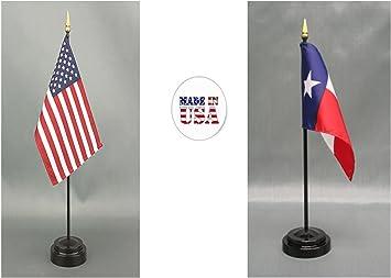 "U.S American 4/""x6/"" Flag Full Black Staff Desk Set Table Stick Premium Quality"