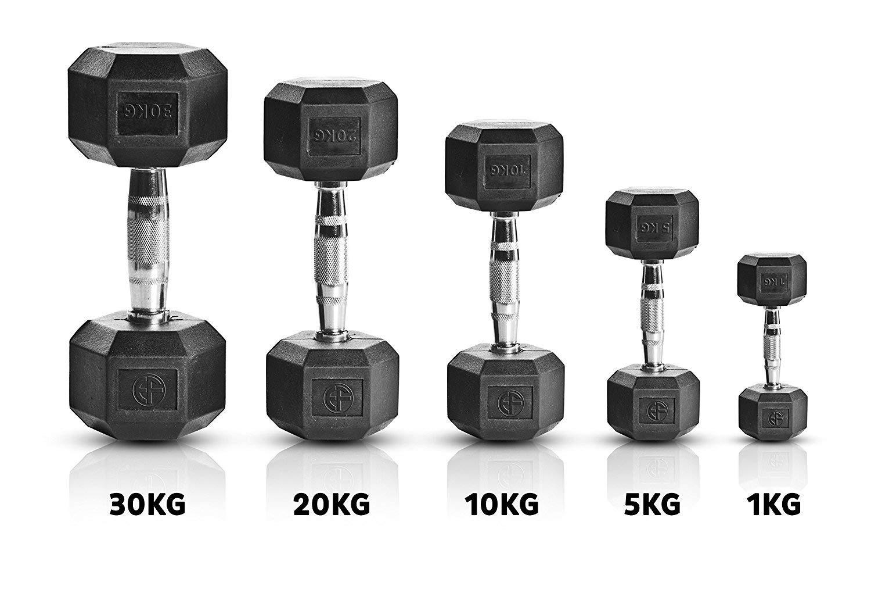 Extreme Fitness® Mancuernas hexagonales recubiertas de goma, 1 kg - 50 kg: Amazon.es: Deportes y aire libre