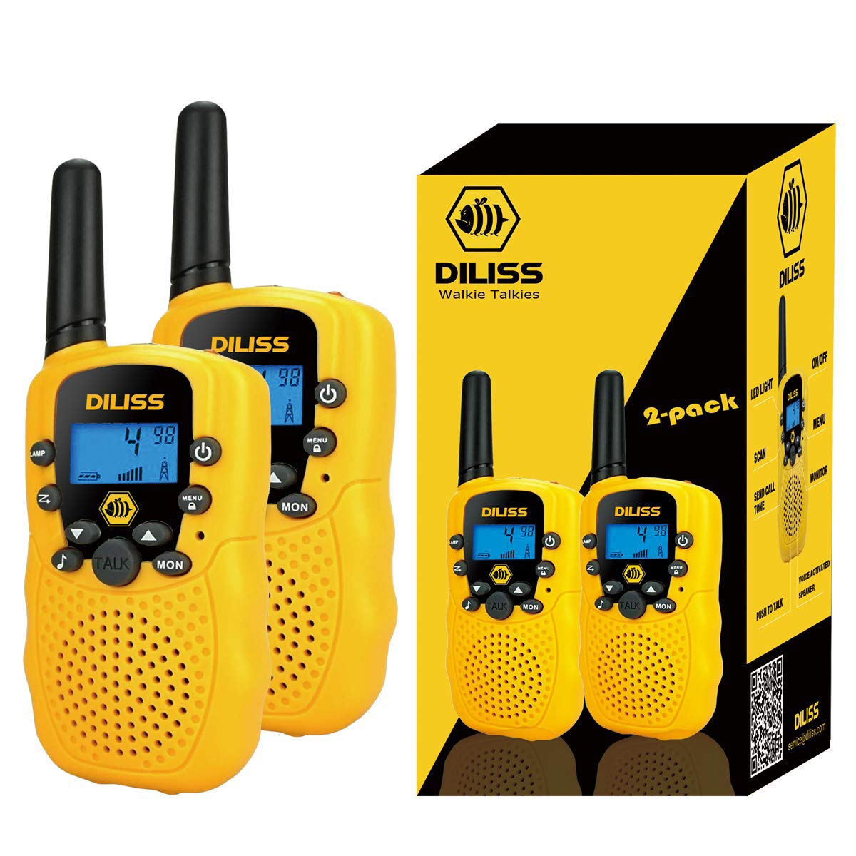 Walkie Talkies for Kids, 22 Channels FRS/GMRS Uhf Two Way Radios 4 Mile Handheld Mini Kids Walkie Talkies for Kids Best Gifts Kids Toys Built in Flashlight 2 Pack - Yellow by DilissToys (Image #1)