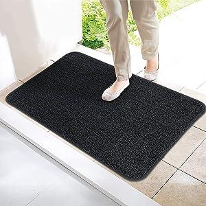 ITSOFT Non-Slip Polyester Dirt Trapper Door Mat Indoor Outdoor Entrance Rug for Front Door Super Absorbent, Machine Washable, 30 x 18 Inches Dark Gray