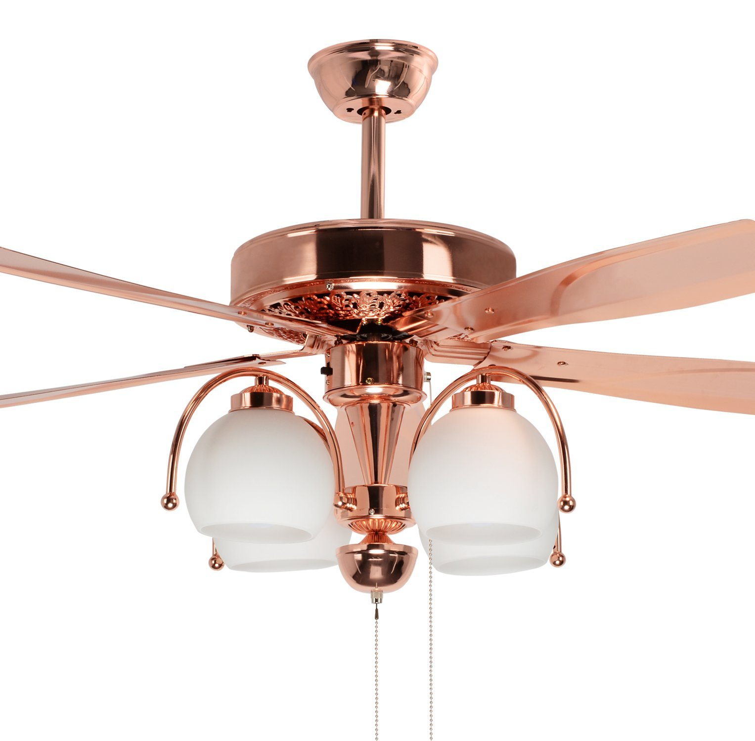 Akronfire Modern Gold Ceiling Fan Decoration Living Room Bedroom Indoor Pull Chain Control with 5 Reversible Iron Blades 48 Inch of Mute Electric Fan Light
