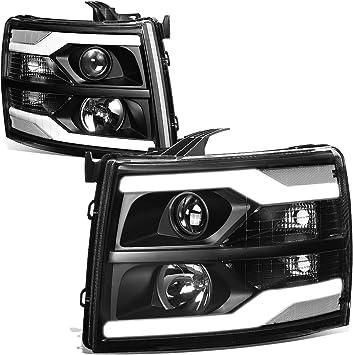 Fits 2007-2014 Chevy Silverado /<LED DRL/> Black//Clear Amber Corner Headlight Lamp