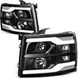 Pair Dual LED DRL Strip Projector Black Housing Clear Corner Headlight Lamps Replacement for Chevy Silverado 07-14