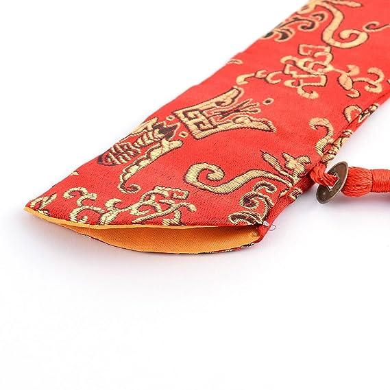 Amazon.com: eDealMax mezcla de seda clásico del estilo chino impreso floral plegable ventilador de la mano de la tela de la manga cubierta de la bolsa: ...