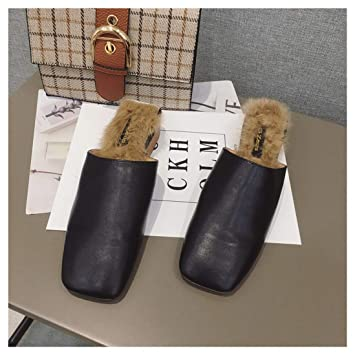 OMFGOD Señoras Moda Zapatillas Comodidad Peletería Artificial Cuero Talón De Caucho Cuadrado Ocio Muller Zapatos: Amazon.es: Deportes y aire libre