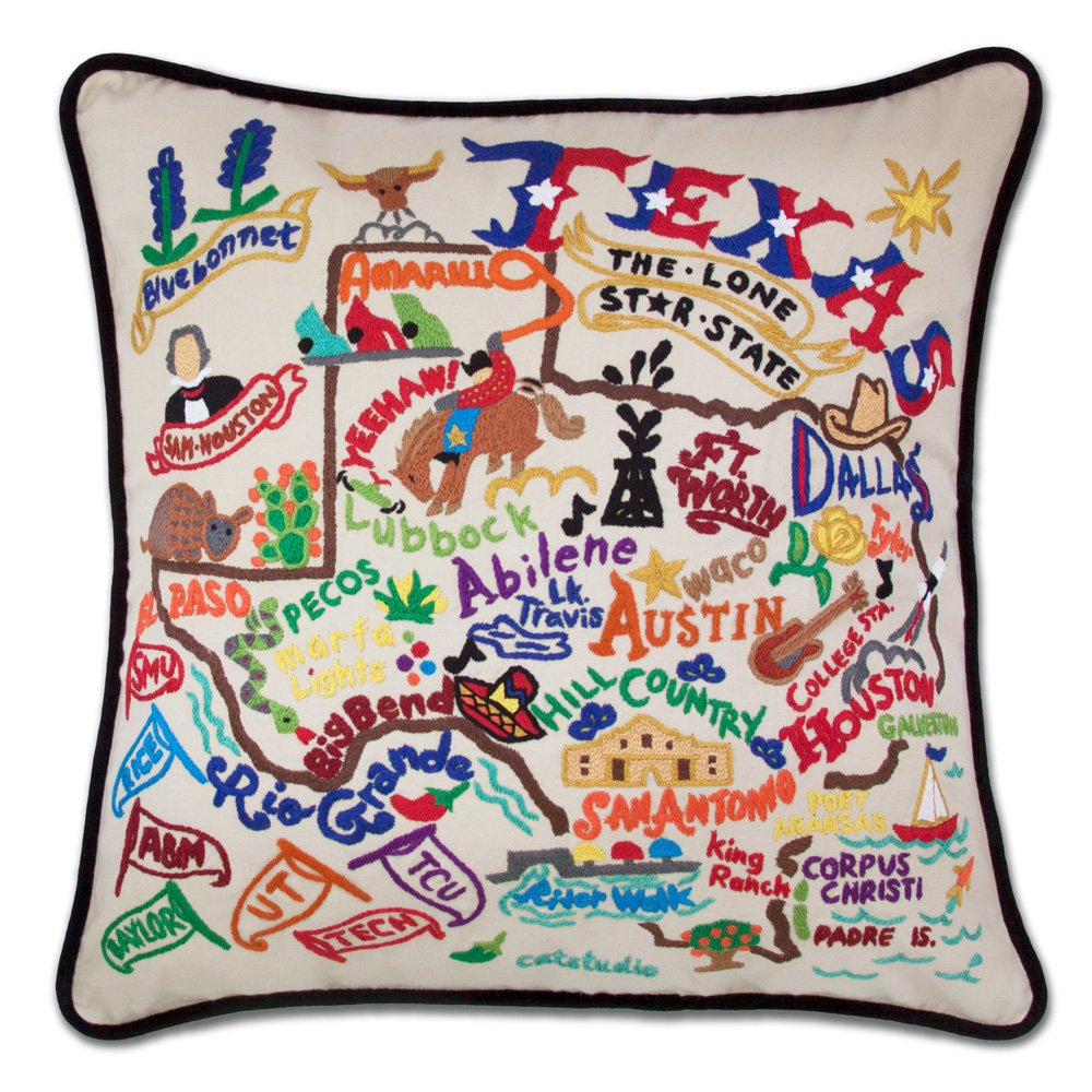 Catstudio Hand-Embroidered Pillow - Texas by Catstudio