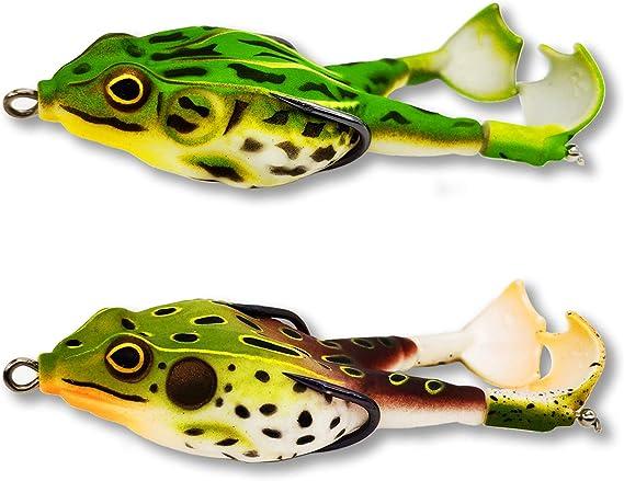 BianchiPamela Soft Fishing Baits Lifelike Frog Lure Topwater Ray Frog Baits with Two Hooks