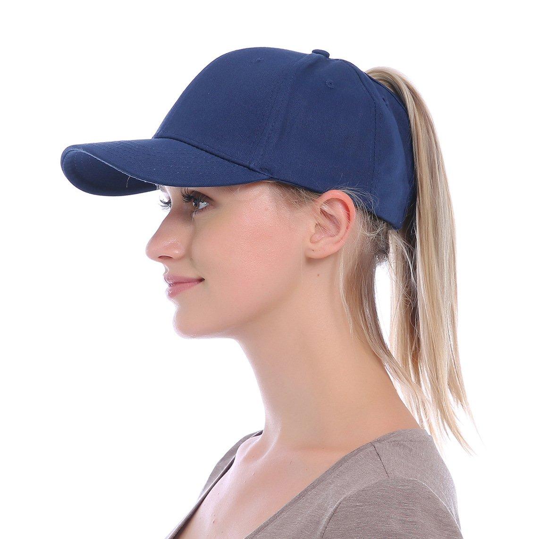 JAKY Global Ponytail Baseball Cap Women Messy Bun Adjustable Mesh Trucker Cotton Hats QM-Navy