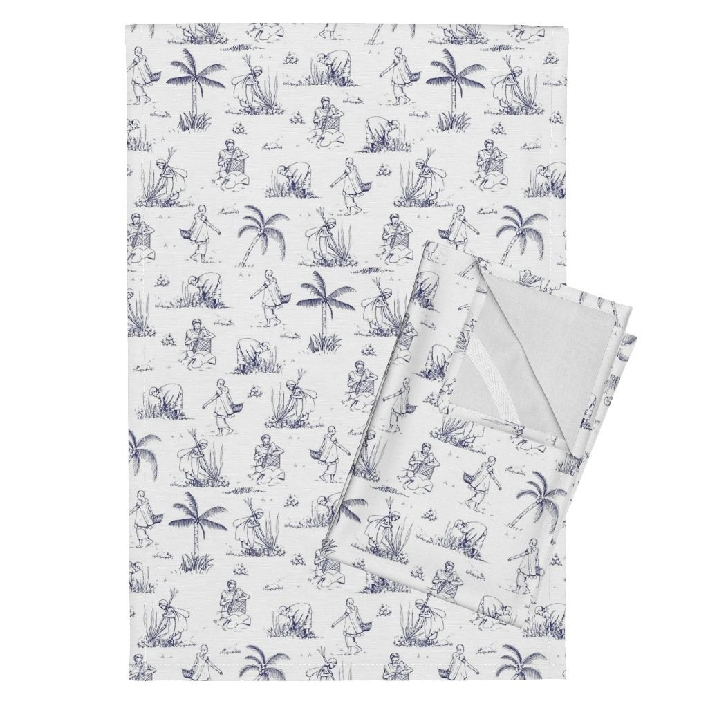 Roostery Toile Tea Towels Inventing Every Day by Karinka Set of 2 Linen Cotton Tea Towels