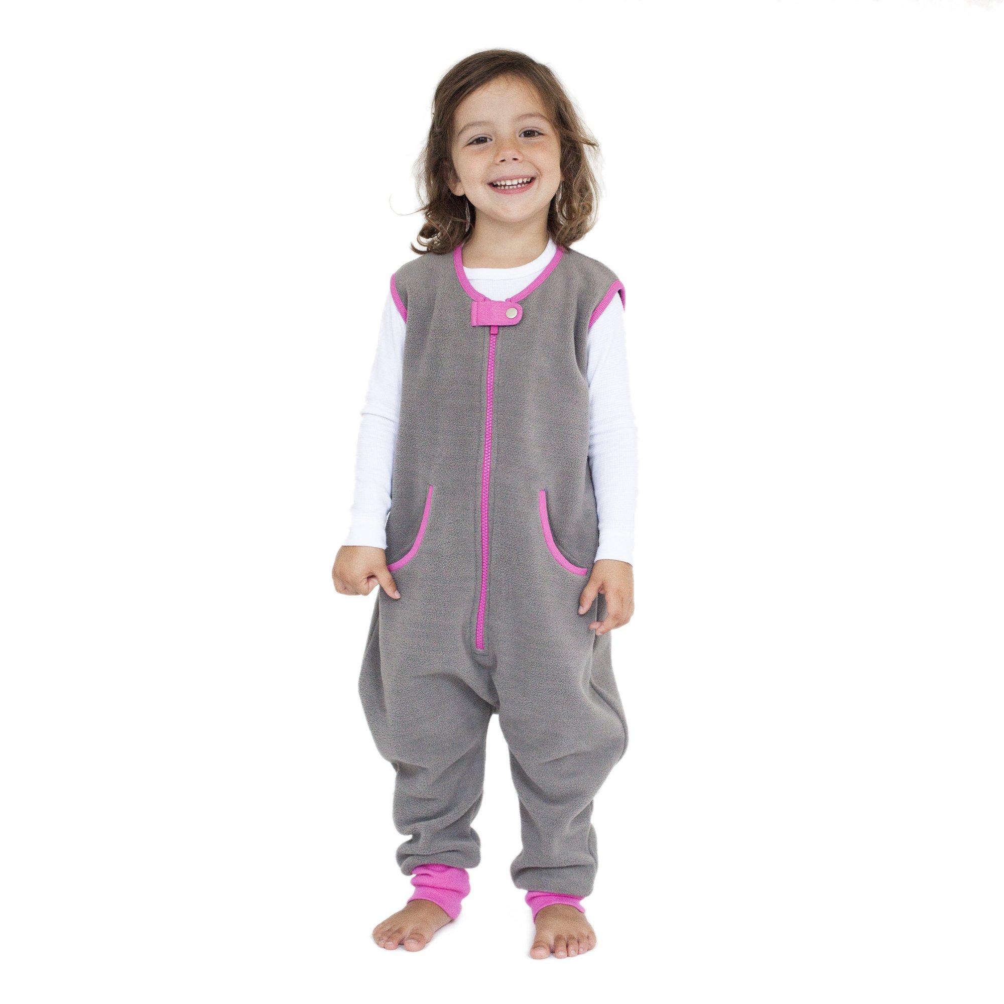 baby deedee Fleece Kicker Sack with Feet Sleep Bag, 2-4T, Slate, Girl
