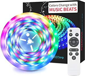 Led Strip Lights DreamColor More Than 60 Modes 16.4ft Music Sync Lights Waterproof Flexible Color Changing RGB SMD 5050 Remote Controller/12V Power Supply for Home