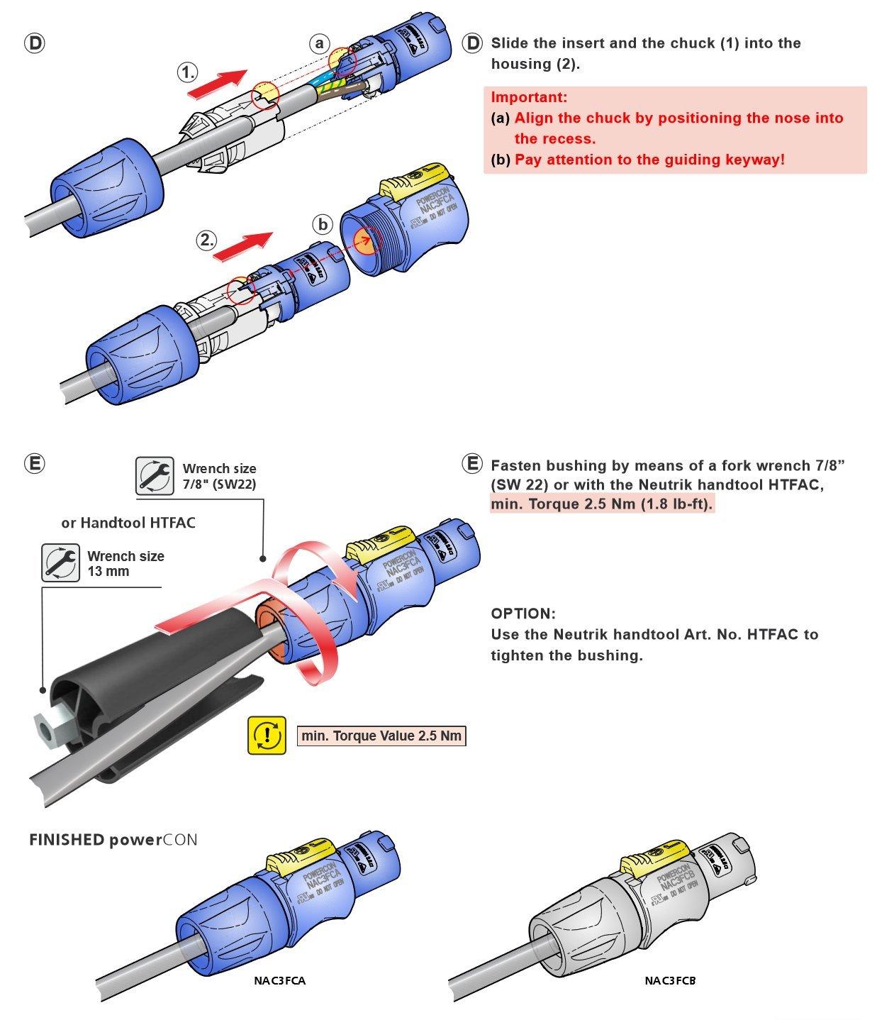 Neutrik NAC3FCA AC 20A PowerCon Lockable Cable Connector, Power-In, on