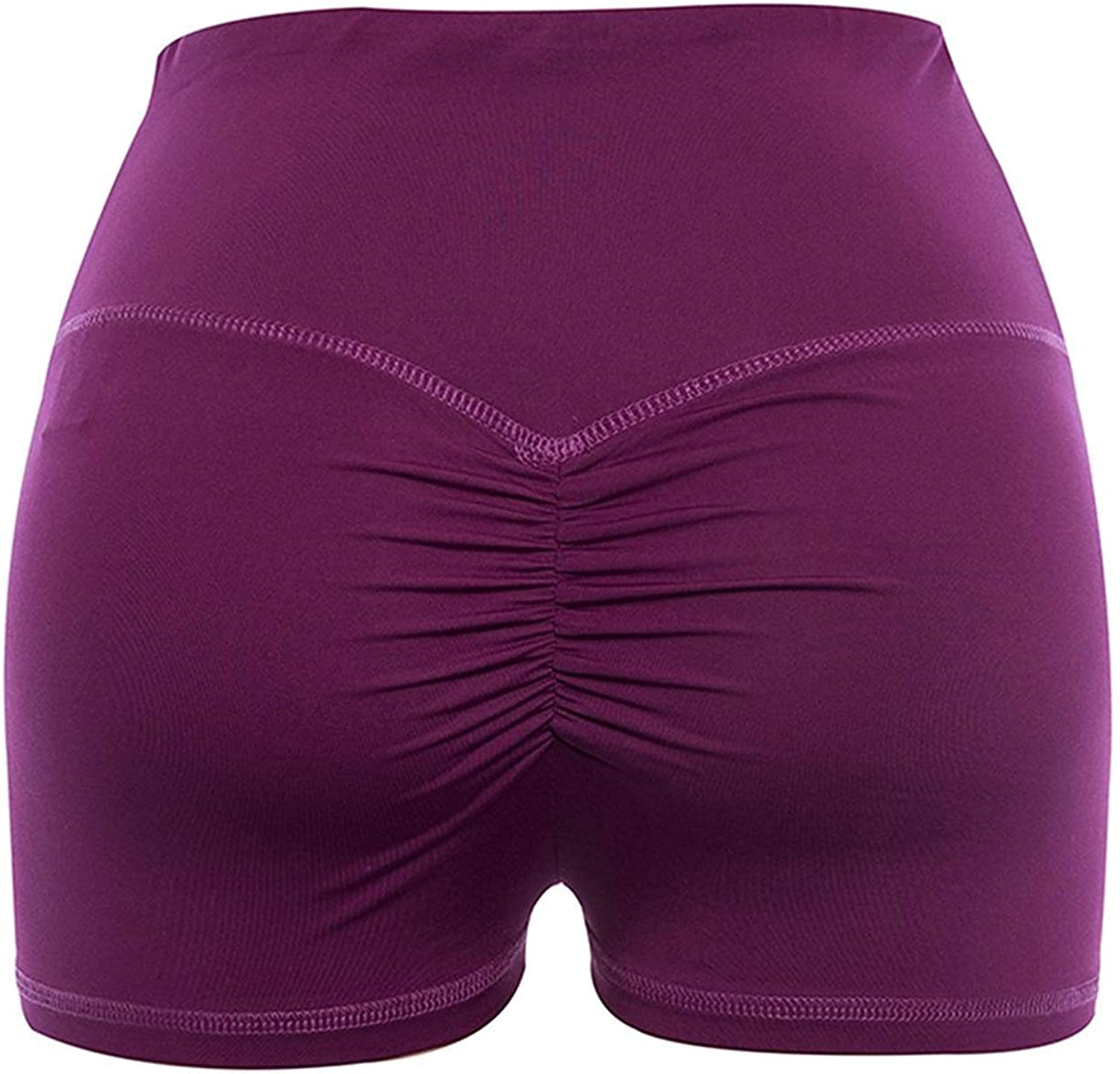 lumiyo Womens Sport Fitness Gym Stretchy High Waisted Ruched Butt Lifting Workout Running Yoga Shorts