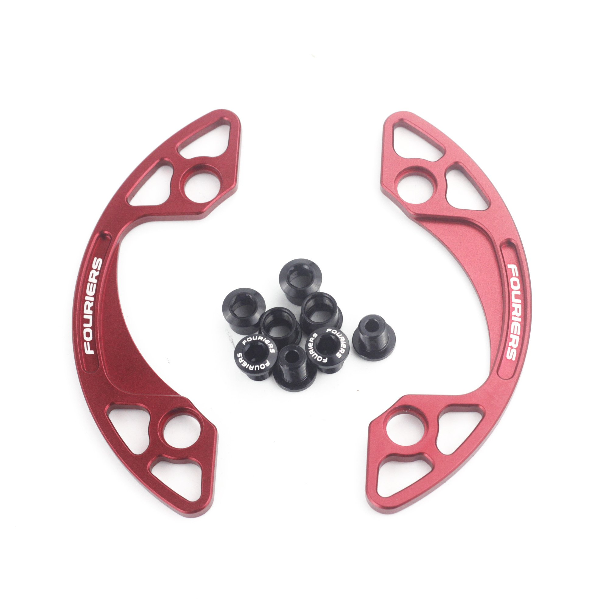 Fouriers CNC Alloy MTB Chain Bash Guide 1/2 Shape Design Chain Guard Protector 30-40T P.C.D 104mm (Red, 34-36T)