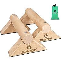 MONTOP Push-up handgrepen van hout, afneembare parallettes, anti-slip push-up bars, push-up handgrepen met draagbaar…