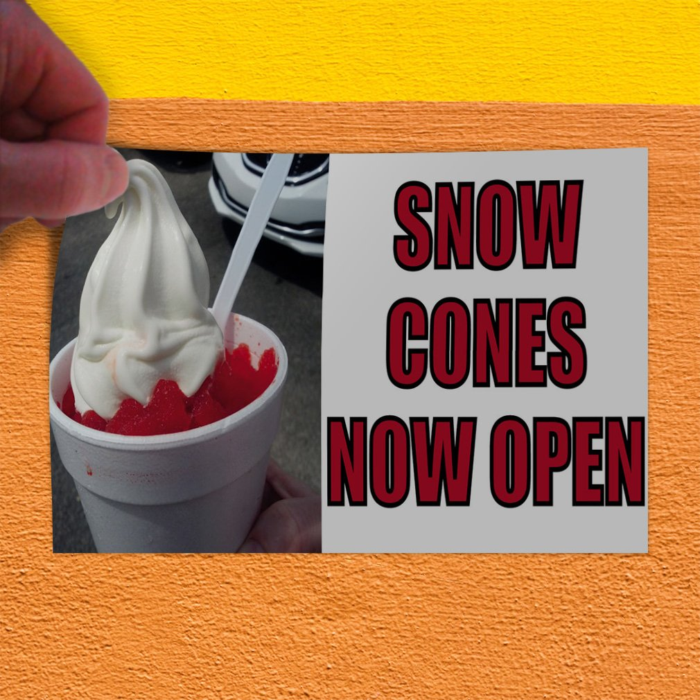 Set of 10 14inx10in Decal Sticker Multiple Sizes Snow Cones Now Open Retail Snow Cones Now Open Outdoor Store Sign Pink