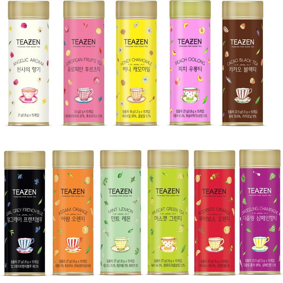 TEAZEN 165 Blended Tea Bags Each Flavor Tea 15ea 11 Diffrent Flavor(Jasmine Rose Cacao Peach Hibiscus Darjeeling Muscat Rooibos Chamomile Orange Mint Earl Grey)