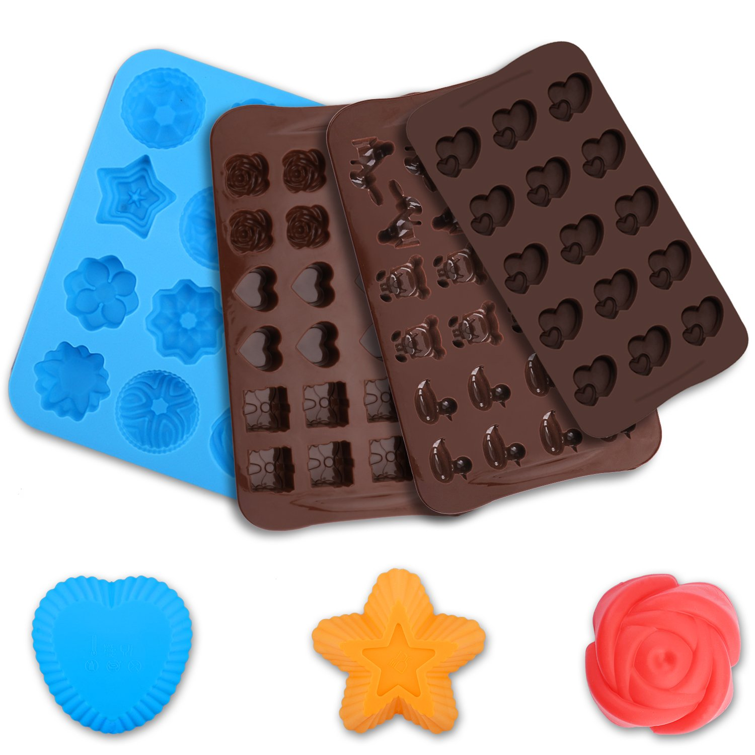 Silicone Molds Silicone Chocolate Molds & Candy Molds 100% FDA Approved, BPA Free, Vitamin (7PCS)