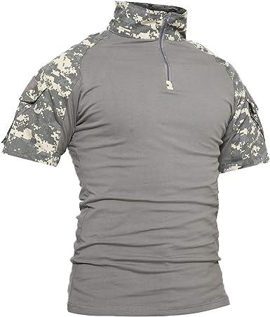 LiliChan Camisas Tácticas de Manga Corta para Hombres Camisa Militar Camisa para Exteriores Camisa de Combate Táctica con Cremallera: Amazon.es: Ropa y accesorios