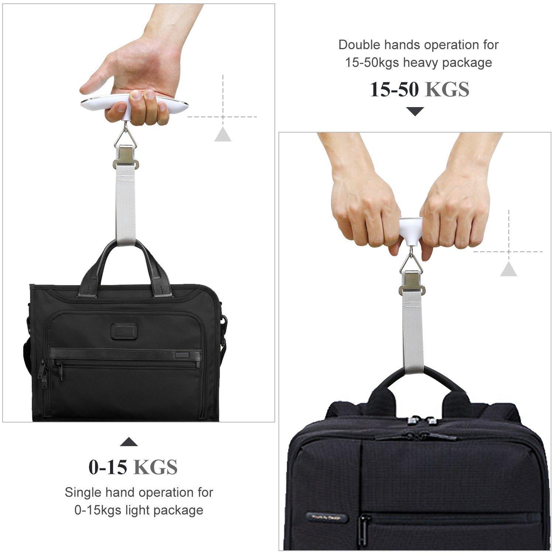 accrochant r/ésistante argent QUMOX 2x P/èse de voyage Balance num/érique /électronique de haute pr/écision pour la capacit/é 110Lb 50KG de bagages de valise P/èse Bagage