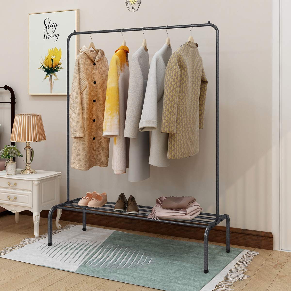 BOFENG Metal Garment Rack Heavy Duty Indoor Bedroom Clothes Coat Stand Shoes with Top Rod and Lower Storage Shelf 47 x 65(Length x Height) ...