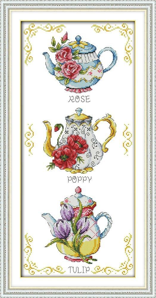 Joy Sunday Cross Stitch Kit 14CT Stamped Embroidery Kits Precise Printed Needlework British Teacup 26/×21CM