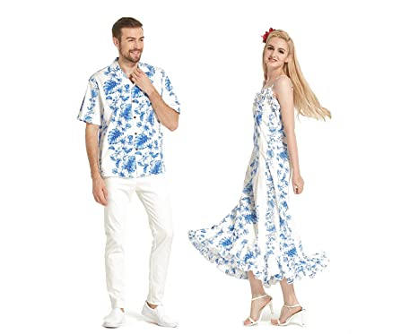f5ccfc3238e4 Made in Hawaii Premium Couple Matching Shirt Muumuu Dress Line Floral in 2  Colors at Amazon Men's Clothing store:
