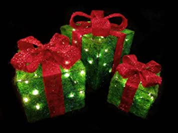 set of 3 sparkling green sisal gift boxes lighted christmas yard art decorations - Lighted Christmas Decorations