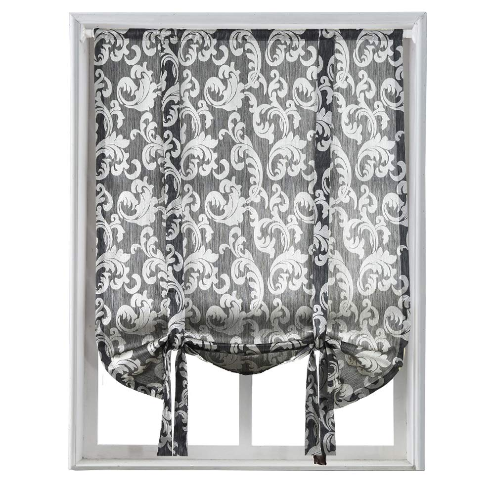 NAPEARL Jacquard Tie up Balloon Curtain for Small Winow (42 Wx63 L, Brown)