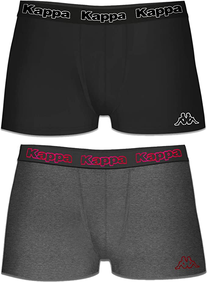 Kappa 2-Pack Men/'s Boxer Shorts Dark Grey Light Grey