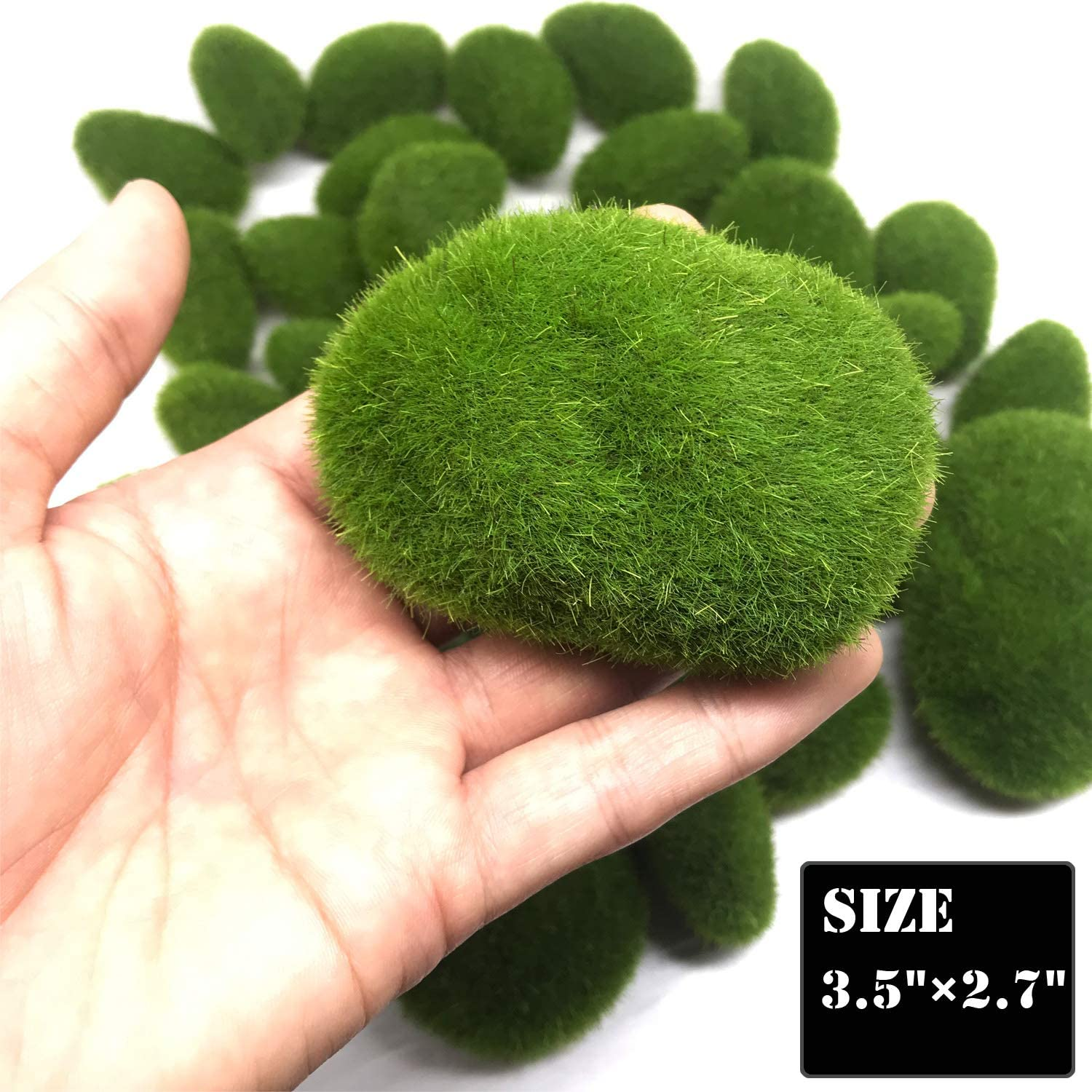 Fake Moss Decor for Floral Arrangements 25-2 Size Woohome 25 PCS 2 Size Artificial Moss Rocks Decorative Green Moss Balls Fairy Gardens and Crafting
