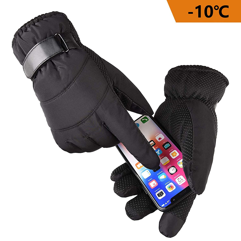 ANSUNEL Winterhandschuhe, Touchscreen Handschuhe fü r Smartphones, Outdoor Winddicht Laufhandschuhe Anti-Rutsch Handschuhe fü r Herren/Damen, Perfekt fü r Herbst oder Frü hling - Schwarz (Free Size)