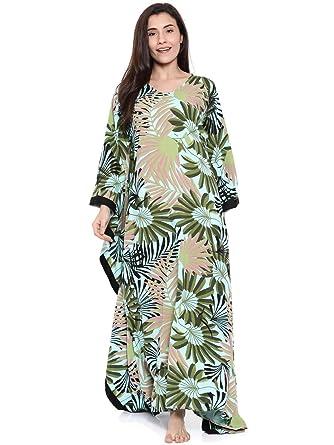 The Kaftan Company Women Off-White   Pink Printed Nightdress Blue ... 1e08dc691