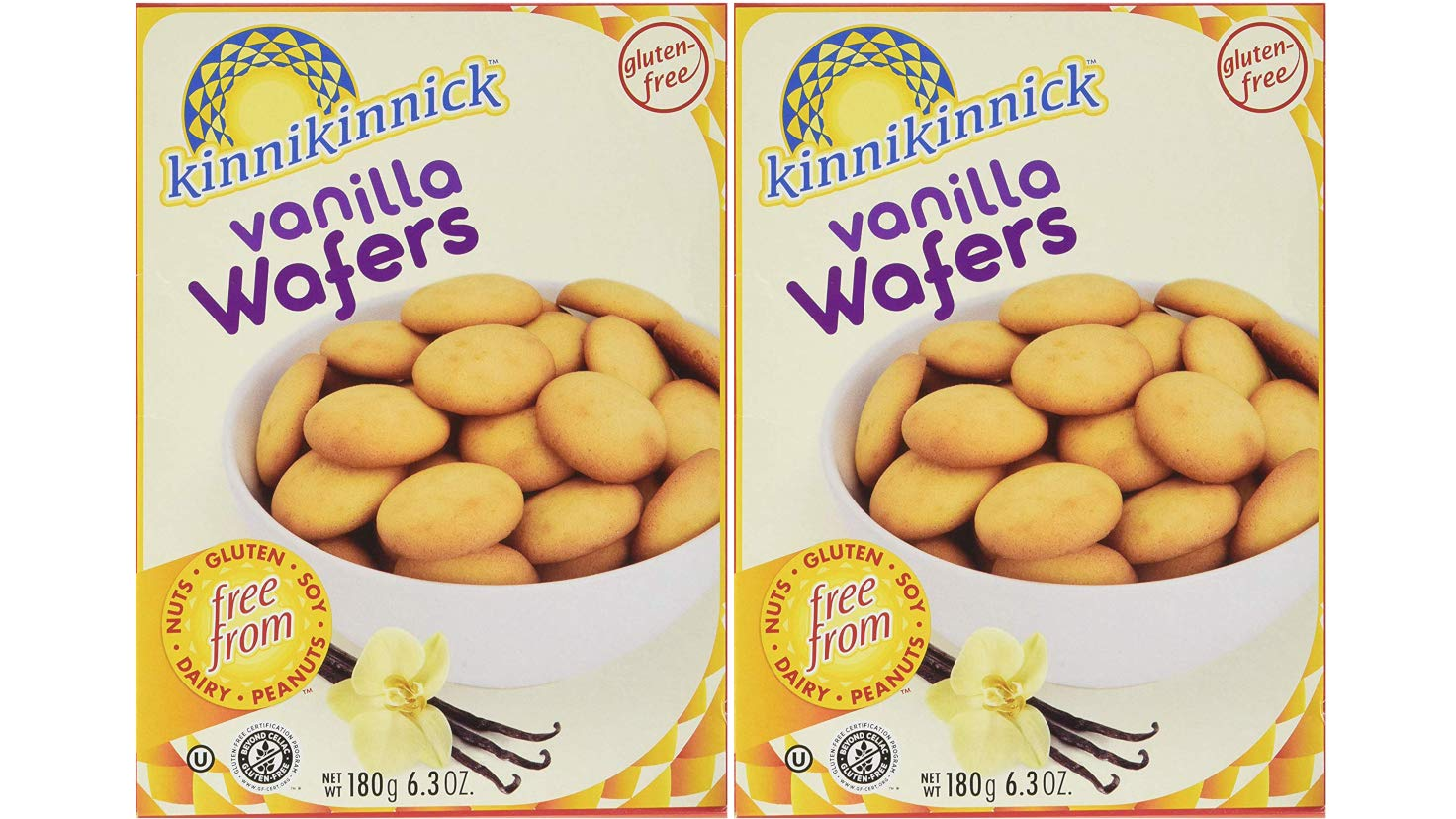 Kinnikinnick Gluten-Free Vanilla Wafer Cookies 12.7 Ounces Delicious Dairy-Free, Soy-Free, Nut-Free, Gluten-Free Snacks (Two 180G Boxes)