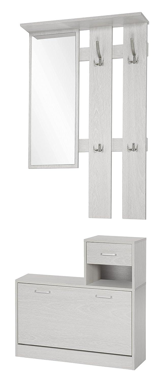 ts-ideen Set di 3 pezzi Guardaroba da parete Specchio Scarpiera con cassetti Legno grigio chiaro