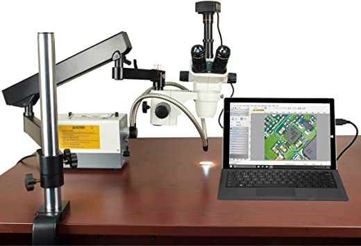 OMAX 3.5X-90X Zoom Trinocular 18MP USB 3.0 Boom Stereo Microscope+56 LED Light