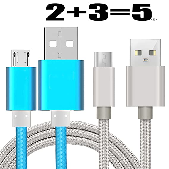 Amazon.com: [5Pack]Micro-USB Cable,iBarbe Nylon Braided 5FT for ...