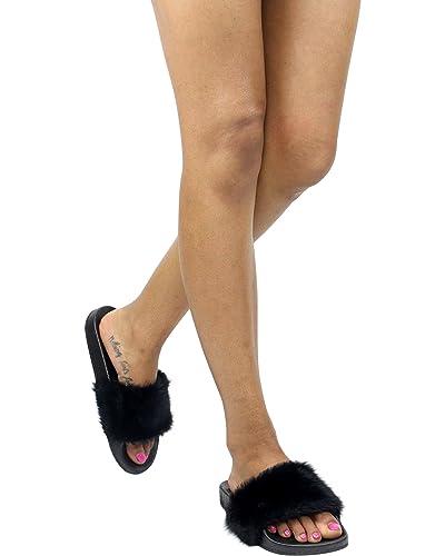 666a606d417 Top Moda Pillow-1 Women s Faux Marabou Fur Slide Flip Flop Sandal
