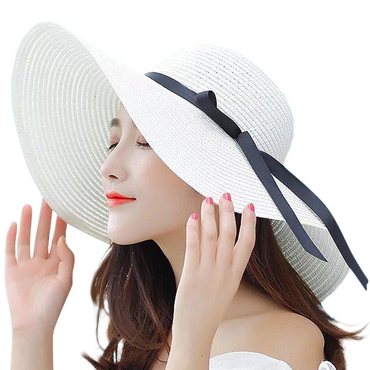 be79a3f08aa9e1 Galleon - JOYEBUY Women's Floppy Big Brim Hat Bowknot Straw Hat Foldable  Roll Up Sun Hat (Style C-Milky White)