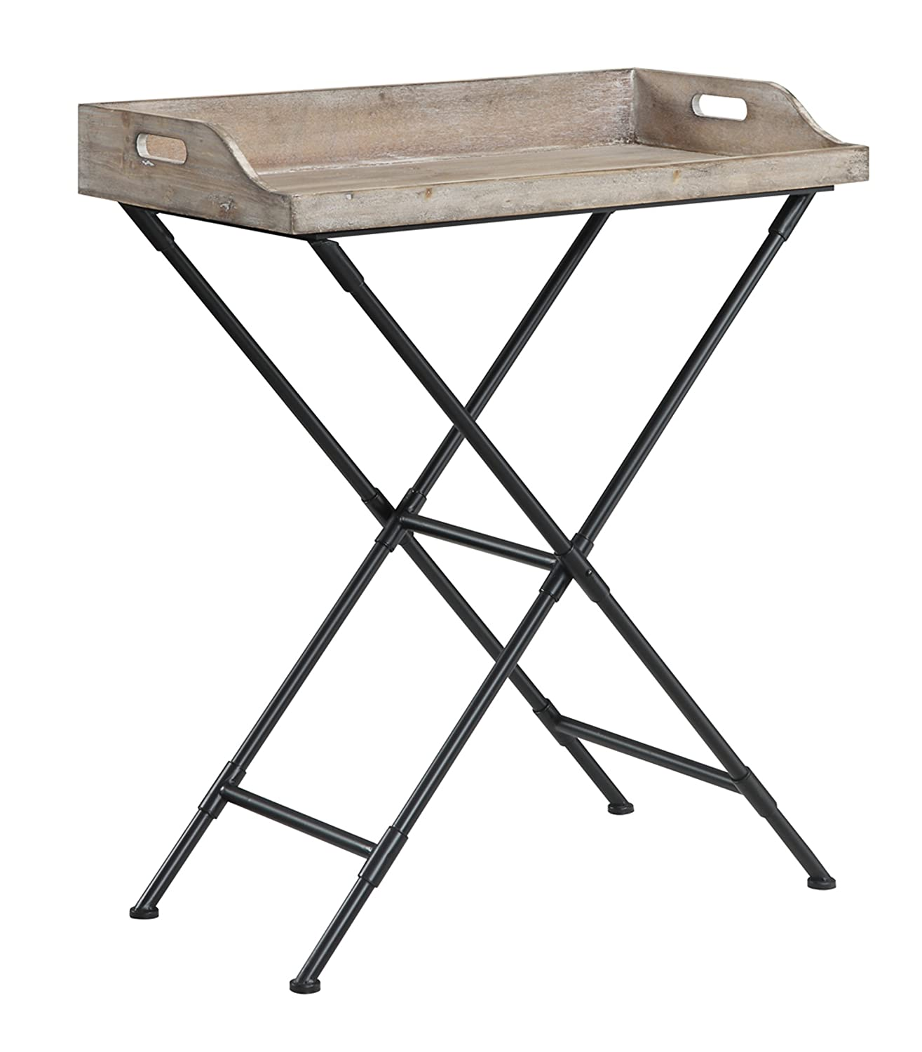 Convenience Concepts Wyoming Folding Serving Bar Table, Antique Wooden Tray 227677