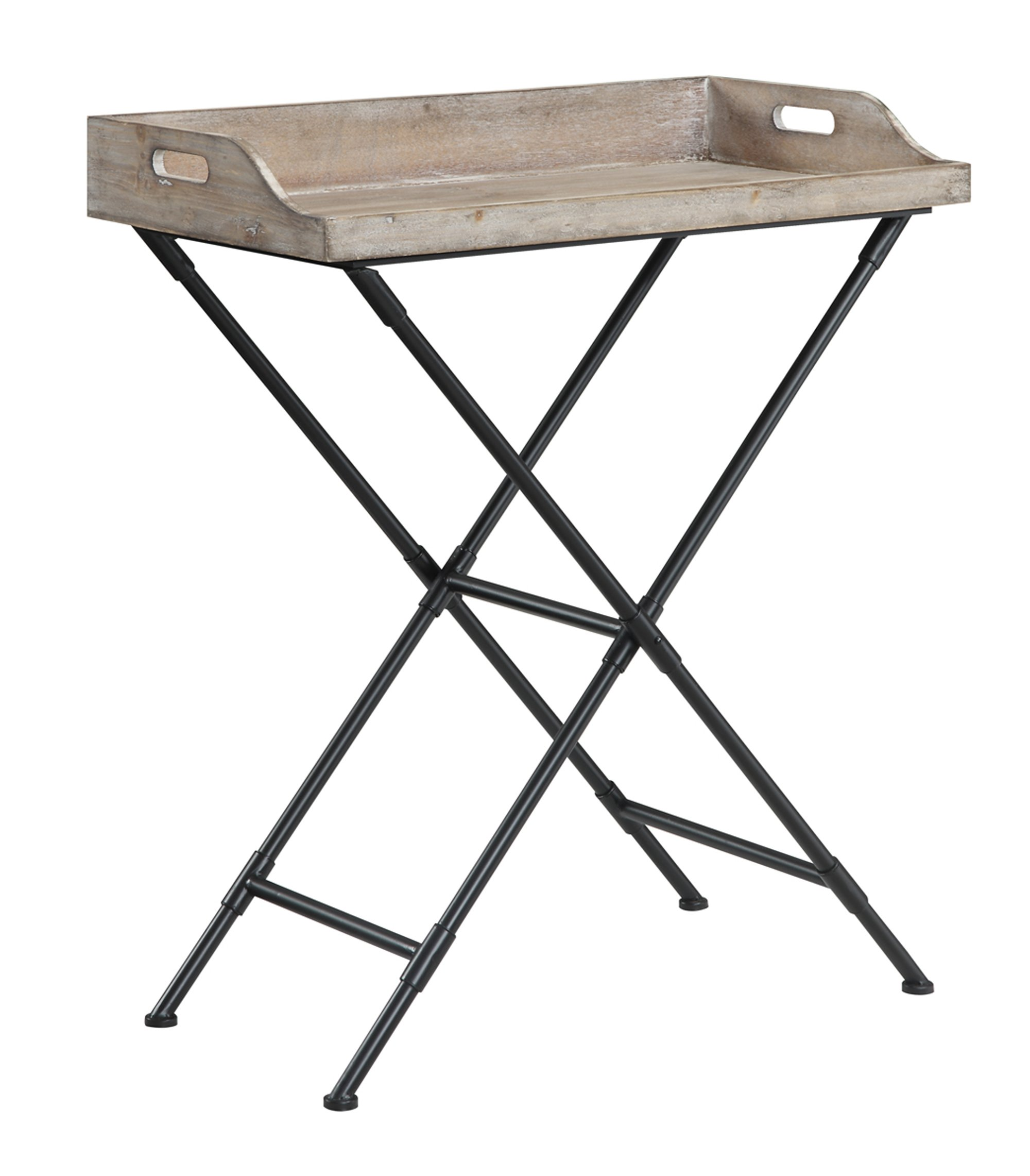 Convenience Concepts Wyoming Folding Serving Bar Table, Antique Wooden Tray