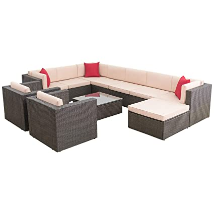 Flamaker 11 Pieces Wicker Sectional Furniture Set Patio Furniture Set  Cushioned Sectional Sofa All-Weather Outdoor Rattan Sofa Set with Cushions  and ...