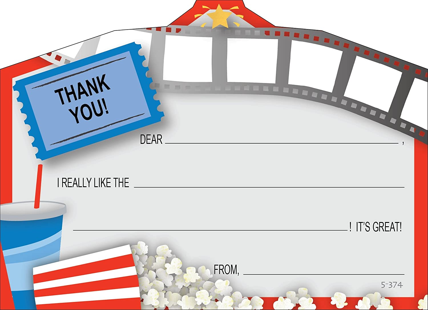 Amazon.com: Kids Movie Night Thank You Cards, Fill-In Style, 8 Pack ...