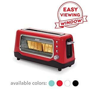 Dash DVTS501RD Clear View: Extra Wide Slot Toaster with Stainless Steel Accents + See Through Window Defrost, Reheat + Auto Shut Off Feature for Bagels, Specialty Breads & other Baked Goods Red