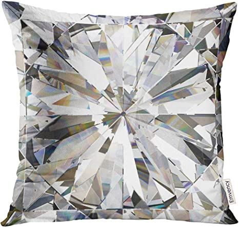 Amazon Com Vanmi Throw Pillow Cover Black Crystal Realistic Diamond With Caustic Close Up 3d White Abstract Bling Decorative Pillow Case Home Decor Square 20x20 Inches Pillowcase Home Kitchen