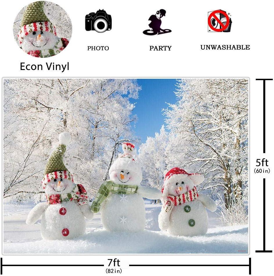Allenjoy Navidad Invierno Mu/ñeco de Nieve Tel/ón de Fondo Fotograf/ía /Árbol Regalos CopoDecoraci/ón Blanca Banner Baby Shower Cumplea/ños Photo Booth Studio Props 210x150cm