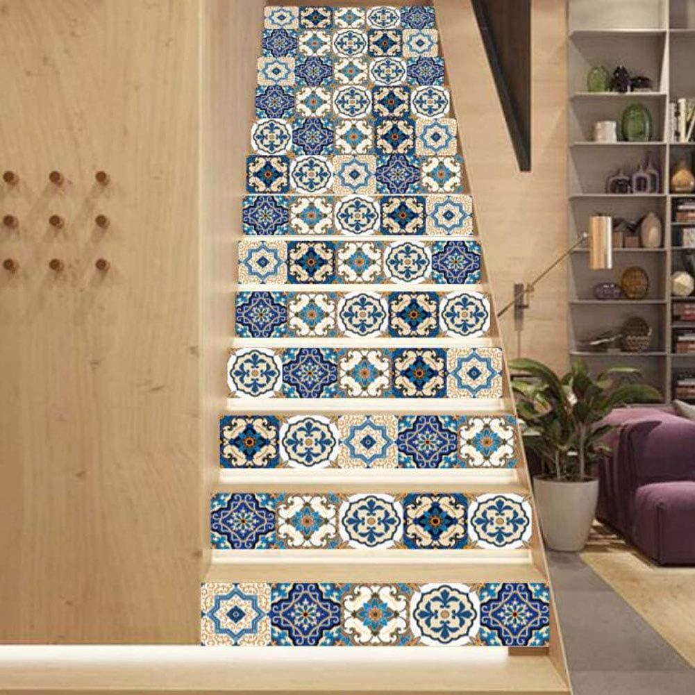 Stickers Escalier Carreaux Autocollants 3D Motif Bleu D/éCoration Murale Contremarche Escalier Adhesif en PVC 18 x 100 cm JY ART 13 Pcs Sticker Carrelage