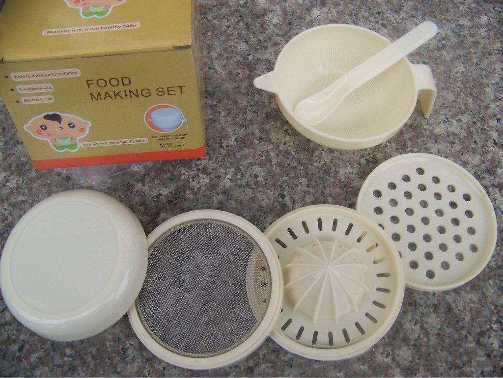 Dealglad® 6 In 1 Baby Food Making Set Spoon Filter Masher Juicer Squeeze Grinder Smash Bowl 10304