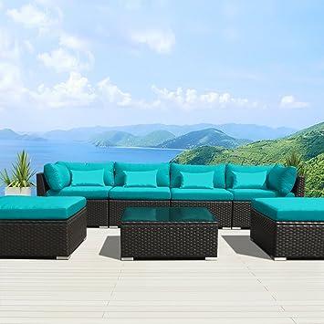 Modenzi 7C U Outdoor Sectional Patio Furniture Espresso Brown Wicker Sofa  Set (Turquoise)